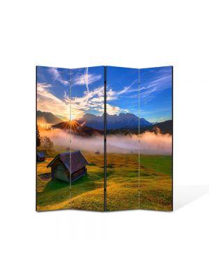 Paravan de Camera ArtDeco din 4 Panouri Peisaj Cabana de lemn 105 x 150 cm