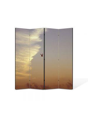 Paravan de Camera ArtDeco din 4 Panouri Peisaj Pasare in zbor 105 x 150 cm
