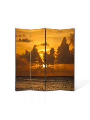 Paravan de Camera ArtDeco din 4 Panouri Peisaj La apus 105 x 150 cm