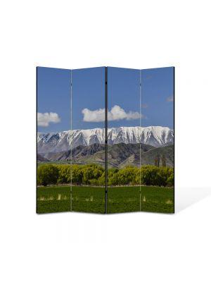 Paravan de Camera ArtDeco din 4 Panouri Peisaj Creasta muntilor 105 x 150 cm