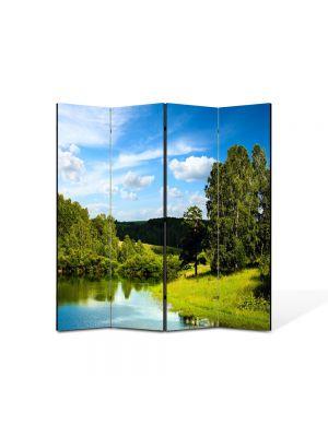 Paravan de Camera ArtDeco din 4 Panouri Peisaj Lac si padure 105 x 150 cm