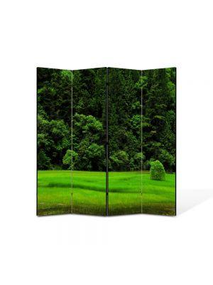 Paravan de Camera ArtDeco din 4 Panouri Peisaj Copacel pe campie 105 x 150 cm