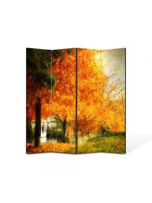 Paravan de Camera ArtDeco din 4 Panouri Peisaj Copac galben 105 x 150 cm