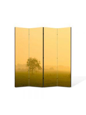 Paravan de Camera ArtDeco din 4 Panouri Peisaj Ceata la apus 105 x 150 cm