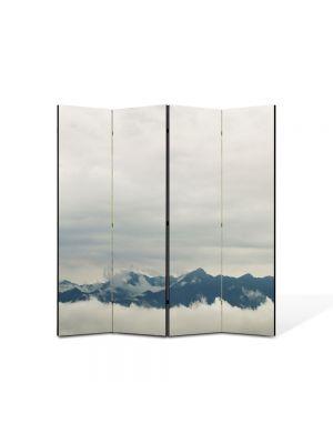 Paravan de Camera ArtDeco din 4 Panouri Peisaj Creste peste nori 105 x 150 cm