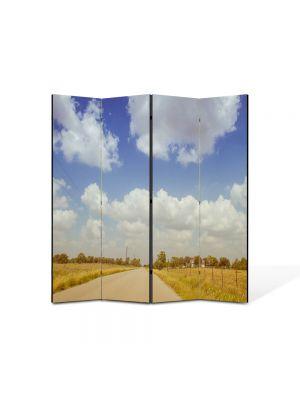 Paravan de Camera ArtDeco din 4 Panouri Peisaj Film american 105 x 150 cm