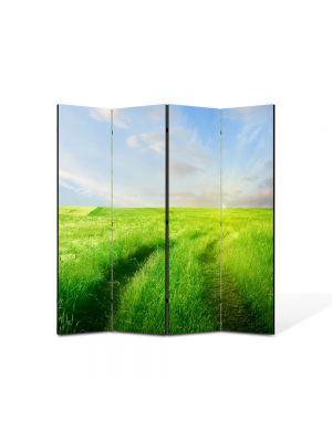 Paravan de Camera ArtDeco din 4 Panouri Peisaj Carare verde 105 x 150 cm