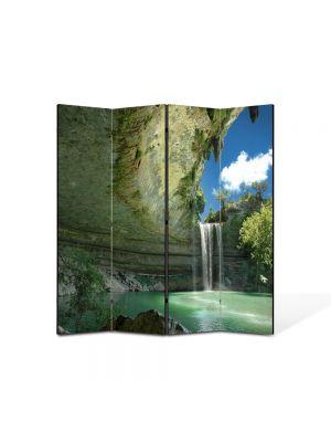 Paravan de Camera ArtDeco din 4 Panouri Peisaj Cascada ireala 105 x 150 cm