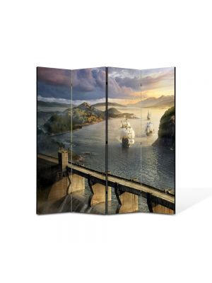 Paravan de Camera ArtDeco din 4 Panouri Peisaj Corabii 105 x 150 cm