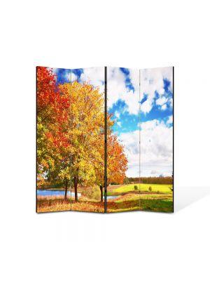 Paravan de Camera ArtDeco din 4 Panouri Peisaj de toamna 105 x 150 cm