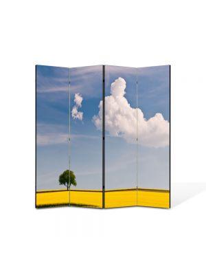 Paravan de Camera ArtDeco din 4 Panouri Peisaj Linie galbena 105 x 150 cm