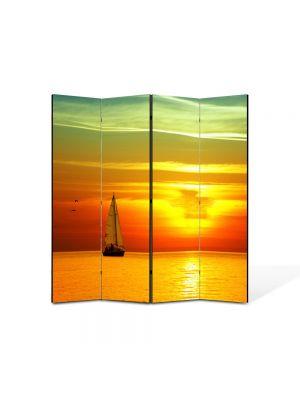 Paravan de Camera ArtDeco din 4 Panouri Peisaj Barca panze 105 x 150 cm