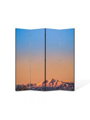 Paravan de Camera ArtDeco din 4 Panouri Peisaj Linia muntilor 105 x 150 cm