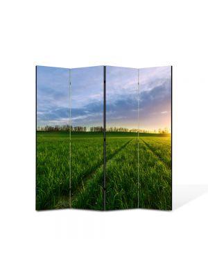 Paravan de Camera ArtDeco din 4 Panouri Peisaj Carari prin campie 105 x 150 cm