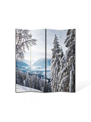 Paravan de Camera ArtDeco din 4 Panouri Peisaj Brazi inzapeziti 105 x 150 cm
