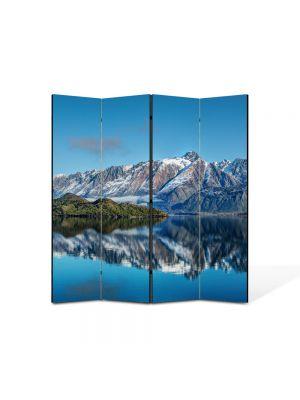 Paravan de Camera ArtDeco din 4 Panouri Peisaj Munti peste ape 105 x 150 cm