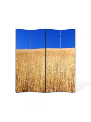 Paravan de Camera ArtDeco din 4 Panouri Peisaj Lan de grau sub cerul albastru 105 x 150 cm