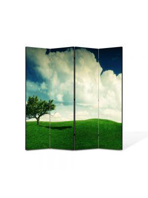 Paravan de Camera ArtDeco din 4 Panouri Peisaj Copacel 105 x 150 cm