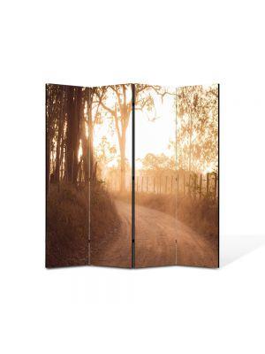 Paravan de Camera ArtDeco din 4 Panouri Peisaj Drum de tara 105 x 150 cm