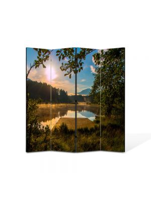 Paravan de Camera ArtDeco din 4 Panouri Peisaj Linie de brazi 105 x 150 cm