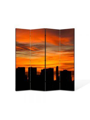 Paravan de Camera ArtDeco din 4 Panouri Peisaj Blocuri inalte 105 x 150 cm