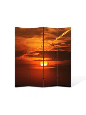 Paravan de Camera ArtDeco din 4 Panouri Peisaj Soare epuizat 105 x 150 cm