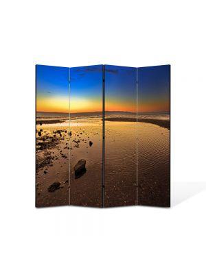 Paravan de Camera ArtDeco din 4 Panouri Peisaj Plaja imensa 105 x 150 cm