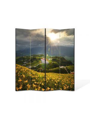 Paravan de Camera ArtDeco din 4 Panouri Peisaj Floricele pe campii 105 x 150 cm