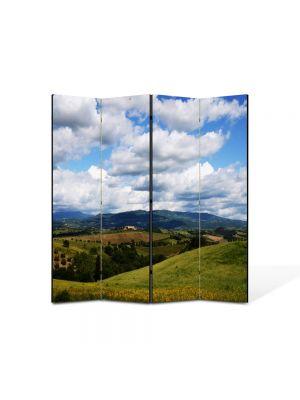 Paravan de Camera ArtDeco din 4 Panouri Peisaj Viata la tara 105 x 150 cm