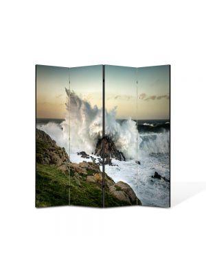 Paravan de Camera ArtDeco din 4 Panouri Peisaj Val izbit de stanca 105 x 150 cm