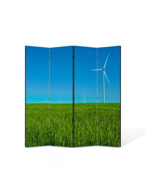 Paravan de Camera ArtDeco din 4 Panouri Peisaj Eoliana 105 x 150 cm