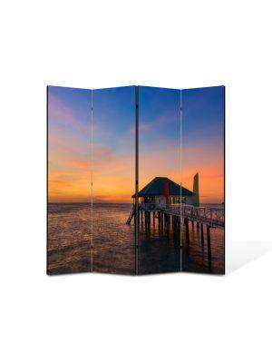 Paravan de Camera ArtDeco din 4 Panouri Peisaj Casa pe ponton 105 x 150 cm