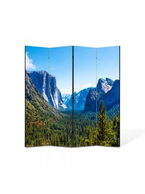 Paravan de Camera ArtDeco din 4 Panouri Peisaj Valea dintre munti 105 x 150 cm