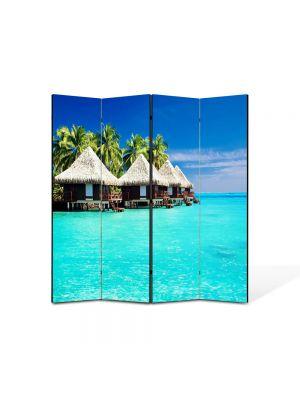 Paravan de Camera ArtDeco din 4 Panouri Peisaj Cabanute exotice 105 x 150 cm