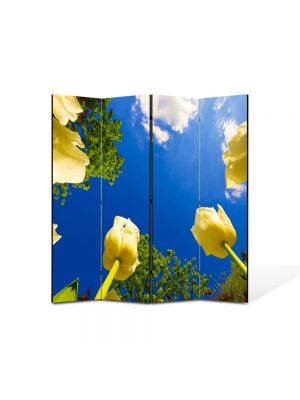 Paravan de Camera ArtDeco din 4 Panouri Peisaj Lalele spre cer 105 x 150 cm