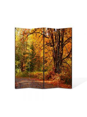 Paravan de Camera ArtDeco din 4 Panouri Peisaj Amestec delori de toamna 105 x 150 cm