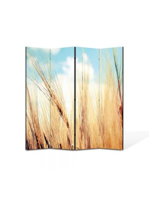 Paravan de Camera ArtDeco din 4 Panouri Peisaj Paie 105 x 150 cm