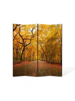 Paravan de Camera ArtDeco din 4 Panouri Peisaj Sosea infrunzita 105 x 150 cm