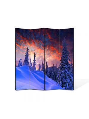 Paravan de Camera ArtDeco din 4 Panouri Peisaj Rosu cerului 105 x 150 cm