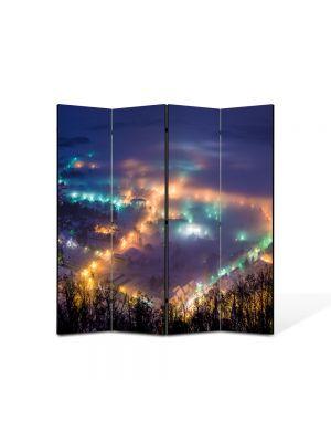 Paravan de Camera ArtDeco din 4 Panouri Peisaj Oras noaptea 105 x 150 cm