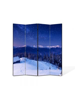 Paravan de Camera ArtDeco din 4 Panouri Peisaj Peste lume 105 x 150 cm