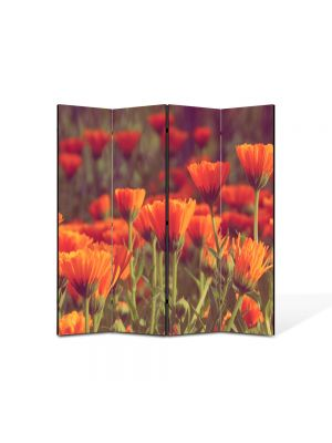 Paravan de Camera ArtDeco din 4 Panouri Peisaj Flori rosii 105 x 150 cm