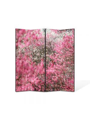 Paravan de Camera ArtDeco din 4 Panouri Peisaj Nuante de roz 105 x 150 cm
