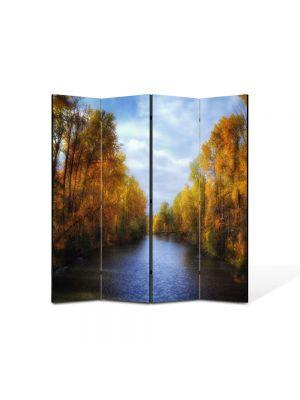 Paravan de Camera ArtDeco din 4 Panouri Peisaj Canal de toamna 105 x 150 cm