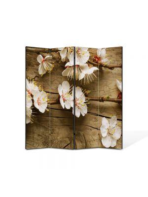 Paravan de Camera ArtDeco din 4 Panouri Peisaj Flori albicioase 105 x 150 cm