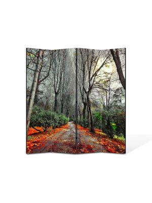 Paravan de Camera ArtDeco din 4 Panouri Peisaj Drum rosu 105 x 150 cm
