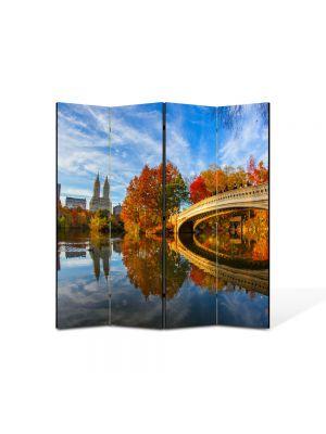 Paravan de Camera ArtDeco din 4 Panouri Peisaj Pod peste toamna 105 x 150 cm
