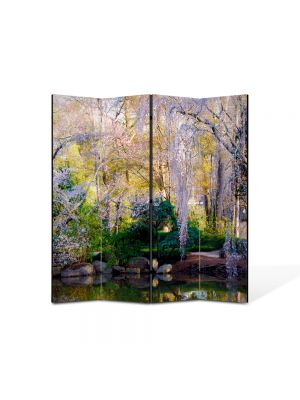 Paravan de Camera ArtDeco din 4 Panouri Peisaj Gradina botanica 105 x 150 cm