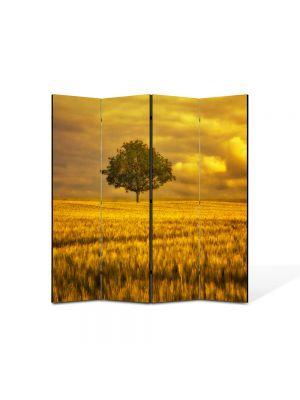 Paravan de Camera ArtDeco din 4 Panouri Peisaj Campie portocalie 105 x 150 cm