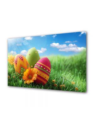 Tablou Canvas Sarbatori Paste Oua decorate pe campie cu flori